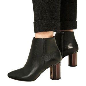 Zara authentic leather metal mirror heel zip boots